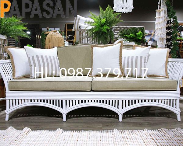 Sofa Mây Vương Miện màu trắng